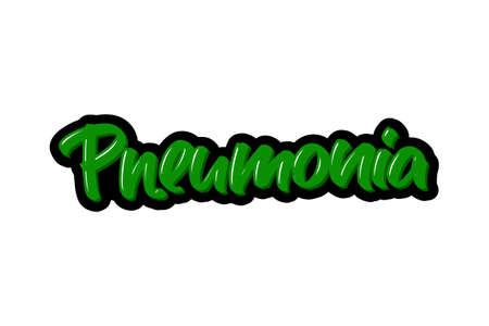 Coronavirus. Pneumonia hand drawn brush lettering. Vector illustration logo text for webpage, print and advertising. Illustration