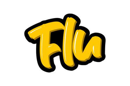 Coronavirus. Flu hand drawn brush lettering. Vector illustration logo text for webpage, print and advertising