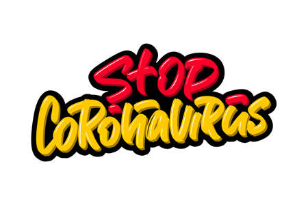 Stop Coronavirus hand drawn brush lettering. Vector illustration logo text for webpage, print and advertising.