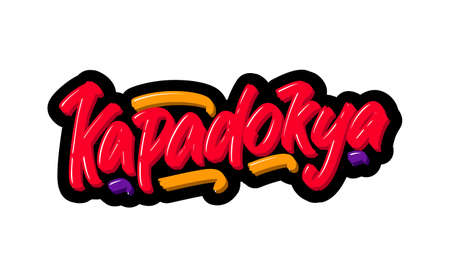 Kapadokya logo text. Vector illustration of hand drawn lettering on white background Illustration