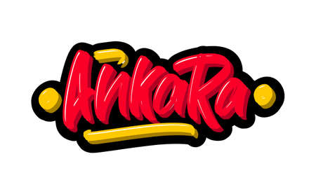 Ankara logo text. Vector illustration of hand drawn lettering on white background