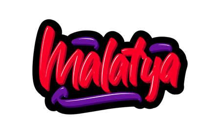 Malatya, Turkey city hand drawn modern brush lettering. Vector illustration logo text for webpage, print and advertising. Illustration