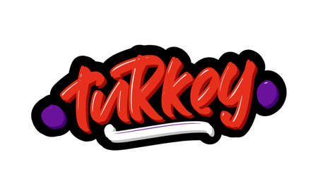Turkey logo text. Vector illustration of hand drawn lettering on white background