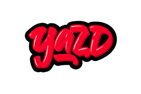 Yazd City logo text. Vector illustration of hand drawn lettering on white background Illustration