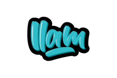 LLam City logo text. Vector illustration of hand drawn lettering on white background