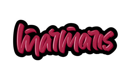 Marmaris city logo text. Vector illustration of hand drawn lettering on white background