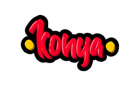 Konya, Turkey city logo text. Vector illustration of hand drawn lettering on white background