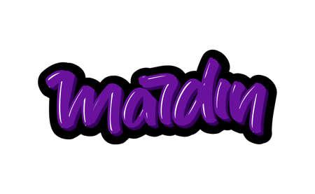 Mardin, Turkey city logo text. Vector illustration of hand drawn lettering on white background