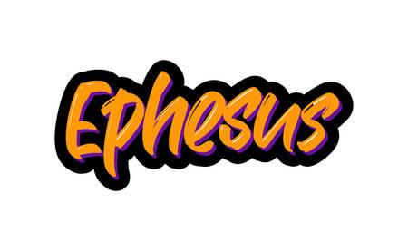 Ephesus, Turkey city logo text. Vector illustration of hand drawn lettering on white background Illustration