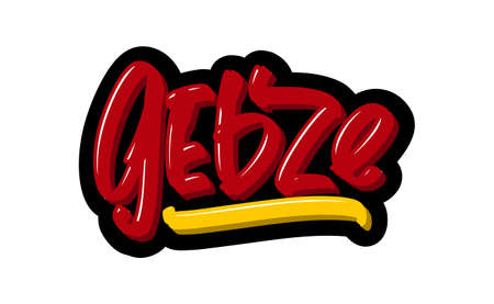 Gebze, Turkey city logo text. Vector illustration of hand drawn lettering on white background