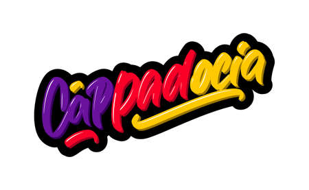 Cappadocia logo text. Vector illustration of hand drawn lettering on white background