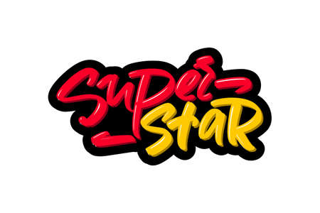 Super star hand drawn modern brush lettering text. illustration for print and advertising