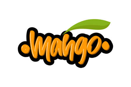 Mango hand drawn modern brush lettering text.  illustration for print and advertising