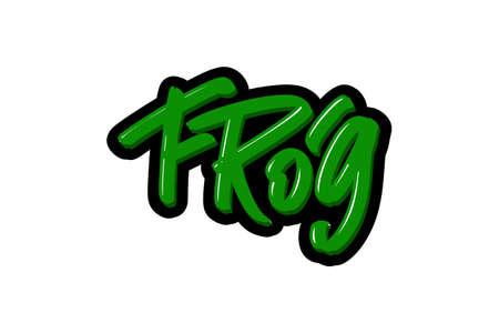 Frog hand drawn modern brush lettering text.  illustration for print and advertising Illustration
