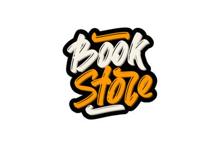 Book Store hand drawn modern brush lettering text.  illustration for print and advertising Illustration