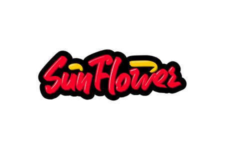 Sun Flower hand drawn modern brush lettering text.  illustration for print and advertising