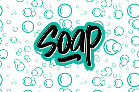 Soap hand drawn modern brush lettering text.  illustration for print and advertising Banque d'images - 144071774