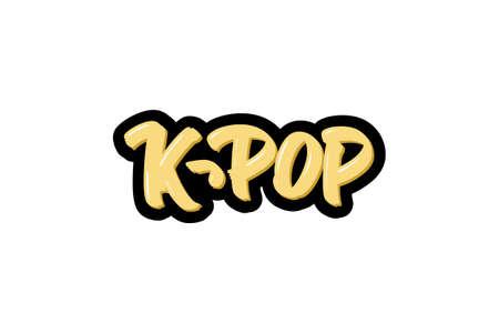 k-pop hand drawn modern brush lettering text.  illustration for print and advertising Illusztráció