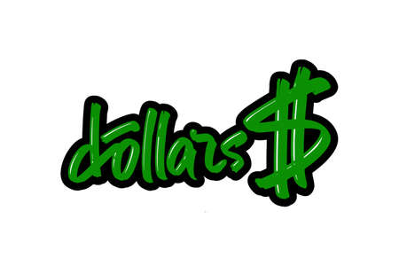 Dollars hand drawn modern brush lettering for business, print and advertising.