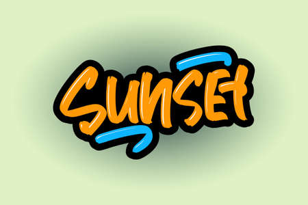 Sunset hand drawn lettering for business, print and advertising. Illusztráció