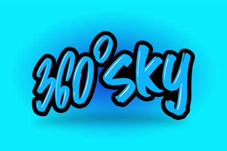 360 Sky hand drawn modern brush lettering. Illusztráció