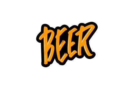 Beer hand drawn modern brush lettering for business, print and advertising. Illusztráció