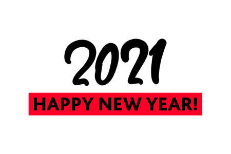 2021 New Year hand drawn lettering text for business, print and advertising