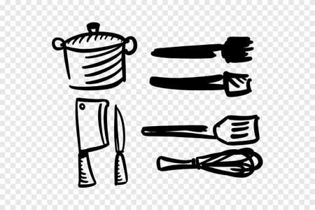 Hand draw of kitchen set. Illusztráció