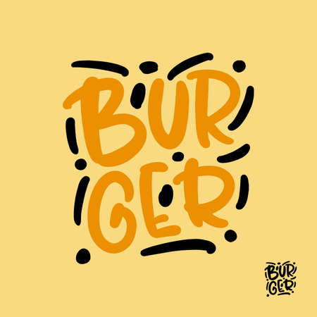 Burger hand drawn lettering for business, print and advertising. Illusztráció
