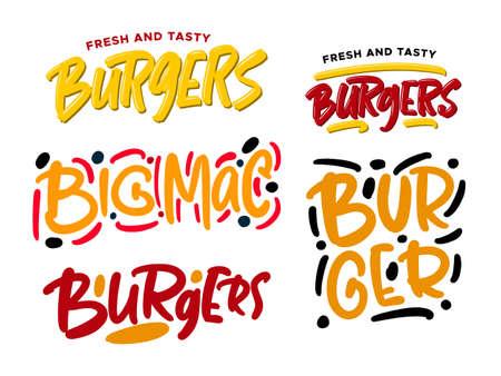 set of burgers hand drawn lettering . Illusztráció