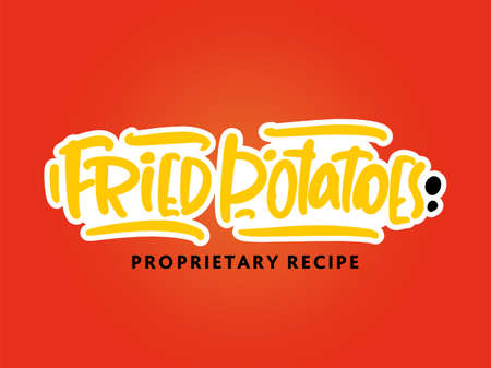 fried potatoes lettering for business, print and advertising.