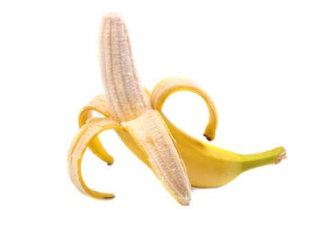 banana skin: Close-up picture of peeled banana, isolated on a white background. Organic, fresh, sweet, ripe bright yellow banana. Tasty and juicy peeled banana. Healthy and nutritious vitamins.