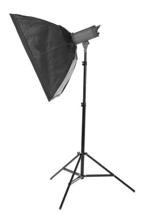 Studio lamps, isolated on the white background. Black stripsoft box. Proffesional photo studio equipment. Flash with soft-box. Studio lighting.  Outbreak. Stock Photo