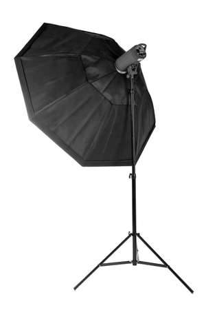 A modern electric saturated black octobox on a tripod isolated on white background