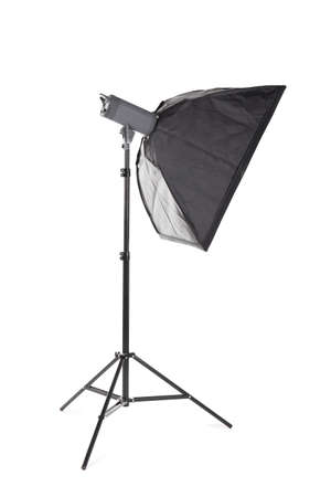 A professional studio softbox isolated over the white background.