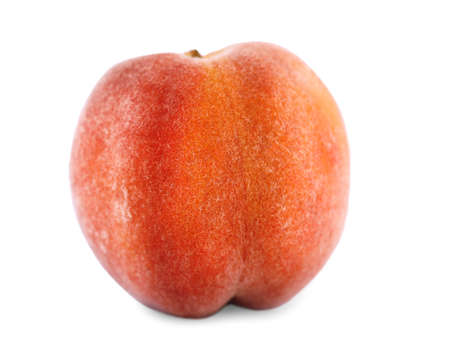 A whole tasteful red peach close-up. Ripe, bright, appetizing fruit, isolated over the white background. Healthy and organic delicious fruit. Ingredients for nutritious  breakfast and summer snack.