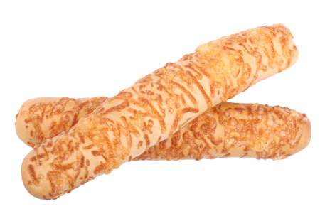 Close-up of two rustic bread with processed cheese, isolated on a white background. Delicious, crispy, fresh and aromatic cheese baguette with a crust. Freshly baked bread.