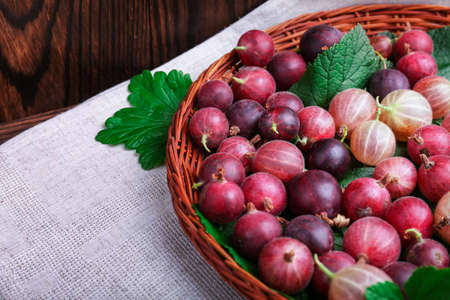 Healthful gooseberries different shades of bright red color with green leaves in a light brown basket on a gray cloth and wooden background. The crate with juicy, ripe and tasty berries on the table. Stock Photo
