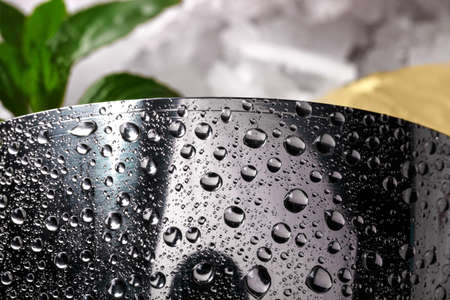 stainless: Close-up of a moist shaker with drops of water, green fresh leaves of mint on a blurred colorful background. Stock Photo