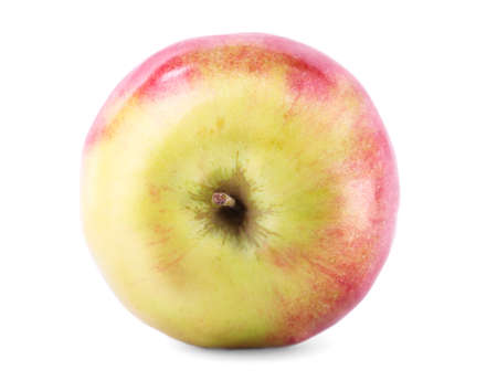 Close-up of a perfect red-yellow apple, isolated on a white background. Juicy, nutritious, bright fruit. Sweet summer fruits.