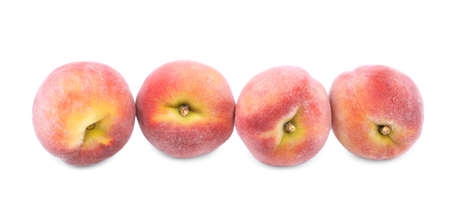 Sappy summer bright red peaches, fruits for healthy summer diet isolated on a white background..