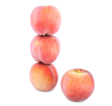 Fresh red peaches, tender fruits for healthy summer diet full of vitamins isolated on a white background . Stock Photo