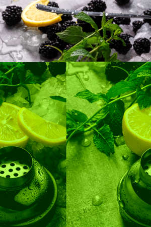Yellow bright lemon, sappy blackberries, green leaves of mint and slices of ice on a light gray background.