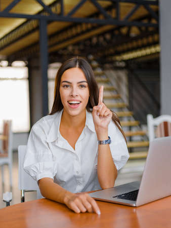 Young attractive woman working with laptop and posing on the camera in the office.
