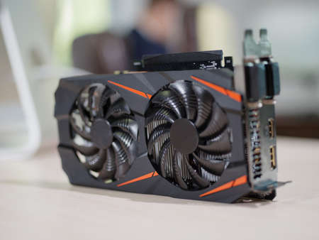 Video card in the office on the table
