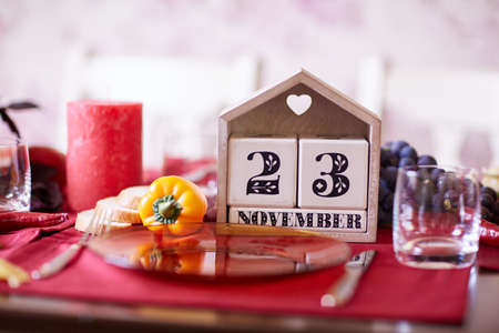 Close-up calendar with Thanksgiving 2017 date on a table background. Thanksgiving holiday. Copy space.