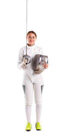 Girl fencer stands on white isolated background with sword