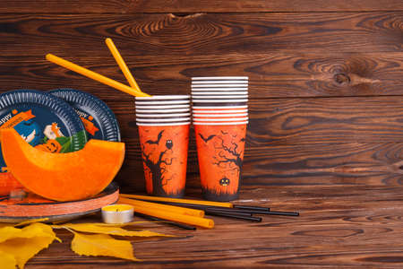 Materials for drawing on a wooden background. Halloween concept.