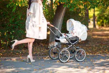 A slender girl in a light coat and high heels wheeling a stroller in the park. Stock Photo