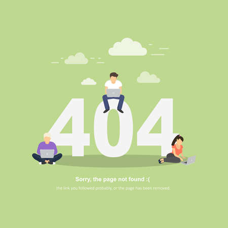 Inscription error 404, the page is not found on a green background. People with laptops. Illustration